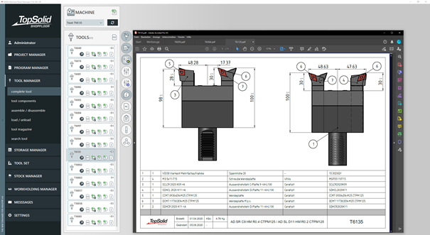 TopSolid'ShopFloor | TOOL MANAGER – PDF detail sheet of an assembled tool (Source: automatically generated from TopSolid'Design)