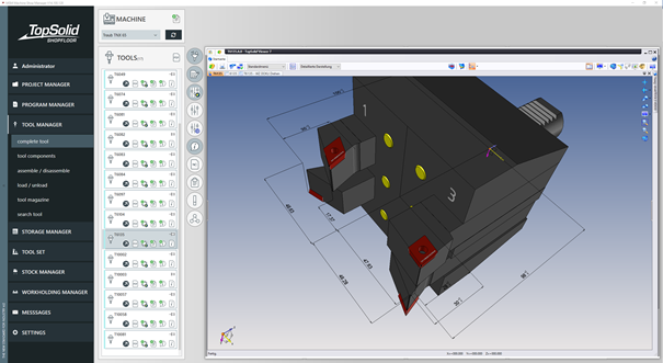TopSolid'ShopFloor | TOOL MANAGER – Set of the assembly in TopSolid'Viewer (package will be automatically generated in the background)