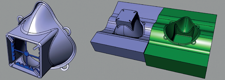 First CAD model and upper and lower halves of the mold.
